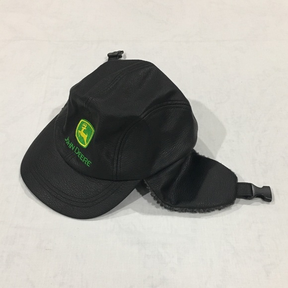 a7330eed0dc John Deere Other - Black Leather John Deere Winter Hat with Ear Flaps